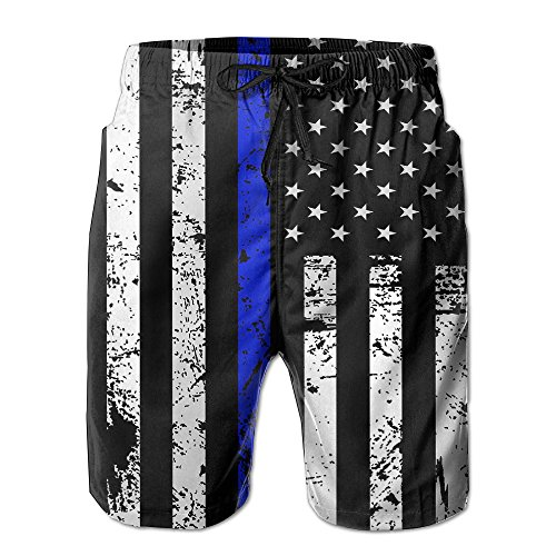 UNIQUE Pants American Thin Blue Line Flag Day Mens Quick Dry Beach Board Shorts Summer Swim Trunks for Fathers Day