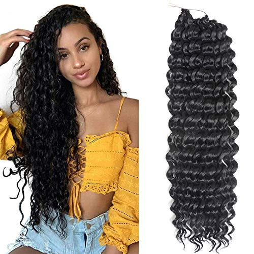 "7 Packs Deep Wave Crochet Hair 22 Inch Deep wave Twist Crochet Braid Low Tempreture Kanekalon Synthetic Hair Extensions (22""7Packs,1b)"