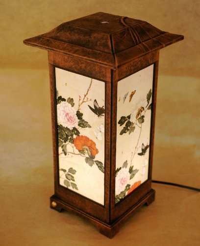 Mulberry Rice Paper Shade Handmade Four Flower Folk Painting Design Square Brown Lantern Asian Oriental Decorative Bedside Bedroom Home Decor Accent Table Light Lamp