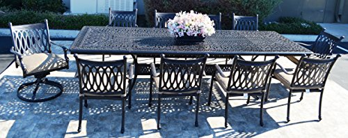 Grand Tuscany Cast Aluminum Powder Coated 11pc Outdoor Patio Dining Set with 48