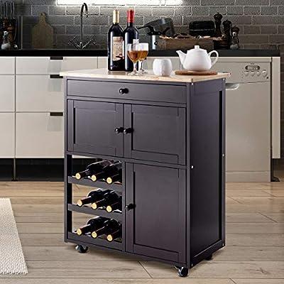 Giantex Modern Rolling Kitchen Trolley Cart w/Drawer & Wine Rack Storage Cabinet Home Restaurant Island Serving Cart w/Wheels