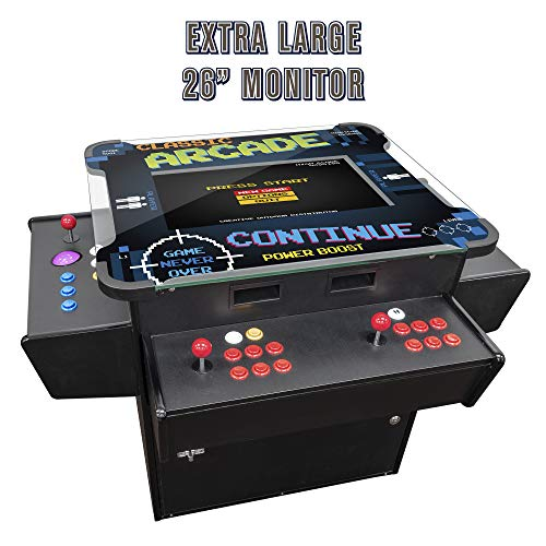 Creative Arcades Full-Size Commercial Grade Cocktail Arcade Machine | Trackball | Three-Sided | 1162 Classic Games | 4 Sanwa Joysticks | 2 Stools | 3-Year Warranty | 26