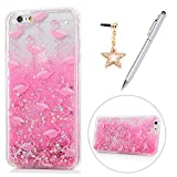 iPhone 6 Case, iPhone 6S Case, KASOS Colorful Painting Cute Pink Pattern Bling Glitter Powder Quicksand Soft TPU Frame PC Bottom Shell Slim Fit Lightweight Bumper Cover & Dust Plug & Stylus - Flamingo
