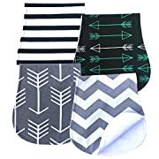 Arnzion Burp Cloths for Boys and Girls Curved Design Soft Absorbent Baby Bibs Pads Set Triple Layer Unisex 4 Pack Wave Stripes Arrows