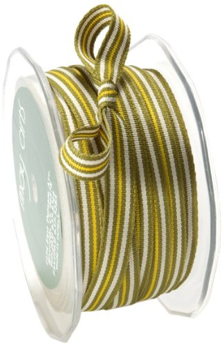 May Arts 1-1/2-Inch Wide Ribbon, Gray and Olive Grosgrain Stripes