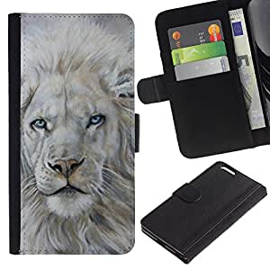 "Apple (5.5 inches!!!) iPhone 6+ Plus , la tarjeta de Crédito Slots PU Funda de cuero Monedero caso cubierta de piel ("" White Lion Snow Painting King Animal Fur"")"