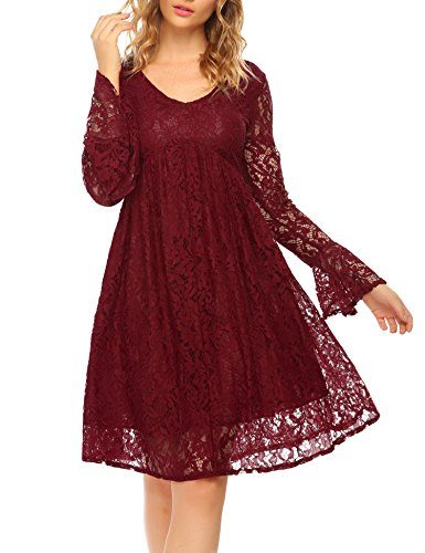 SE MIU Womens V-Neck Flare Sleeve Floral Lace Empire Waist Party Pleated Maternity Dress
