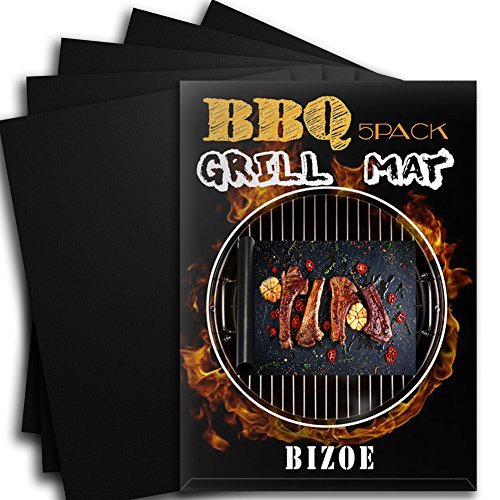 【5pack】BBQ Grill Mat , Magic Non Stick and Easy to Clean ,Heavy Duty- Reusable BBQ Grilling Mats-for Charcoal ,Gas or Electric Grills Accessories FDA-Approbed 180 Days Warranty