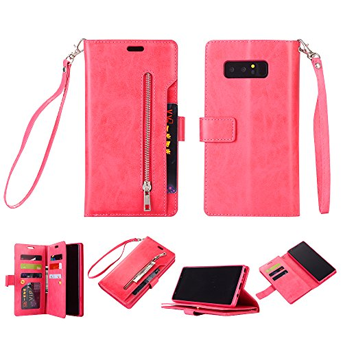 Galaxy Note 8 Case, SUPZY Leather [9 Card slots] [photo & wallet pocket] Multi-function Premium PU Leather Magnetic Flip Shockproof Zipper Wallet Case Cover for Samsung Galaxy Note 8 (Rose)