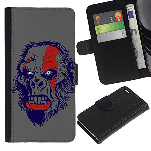 "EuroCase - Apple Iphone 4 / 4S - ""The Evil Monkey - Cuir PU Coverture Shell Armure Coque Coq Cas Etui Housse Case Cover"
