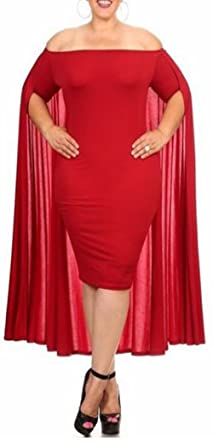 fc9cc50bfdd Kearia Women Sexy Fashion Off Shoulder Plus Size Back Cape Bodycon Club  Midi Maxi Dress Red