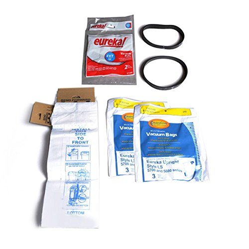 TVP Type LS, Series 5700 & 5800 LiteSpeed Upright, Bagged, Boss Signature Genesis Vacuum Cleaner 6 Bags With Extended Life EXT U Two Replacement Belts.