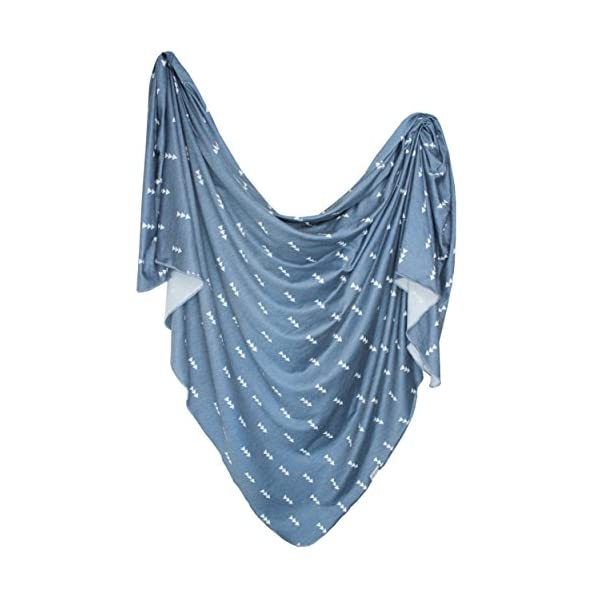 """Large Premium Knit Baby Swaddle Receiving Blanket Navy and White Triangles""""North"""" by Copper Pearl"""