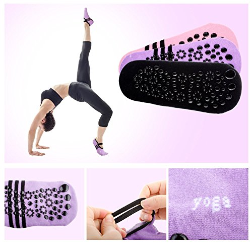 Pilates Dance Girl Black Ballet Socks Pilates with Women Skid Yoga Socks 3 Cotton Non Yoga Grips Fitness Pair Slip for XqaRnp