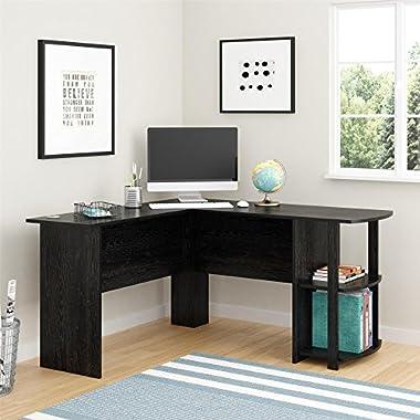 Altra Dakota L-Shaped Desk with Bookshelves, Black Ebony Ash