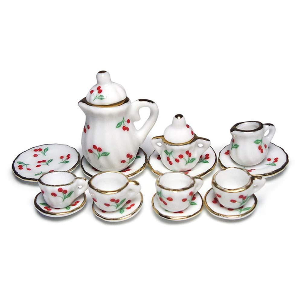 BulzEU 15PCS Set de Service /à th/é Miniature Set Salle /à Manger Vintage El/égant pour 1//12 Maison de Poup/ée Dollhouse