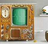 Ambesonne Retro Shower Curtain, Industrial Victorian Style Grunge Steampunk TV Gauger Retro Clockwork, Fabric Bathroom Decor Set with Hooks, 70 Inches, Orange Green Pale Grey