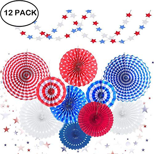 4th of July Party Decorations Set - Stars Stripes, Hanging Paper Fans, Pinwheel, Paper Streamers Kit for Independence Day, Patriotic Favor Backdrop, Red White Blue Décor, Baby Shower -