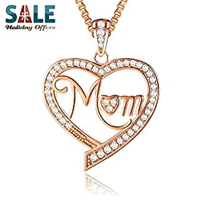 """12 Days of Deals - Ado Glo """"Mom"""" """"Nana"""" """"Aunt"""" Love Heart Pendant Rose Gold Fashion Jewelry Necklace - Birthday New Years Xmas Christmas Day Gifts for Women"""