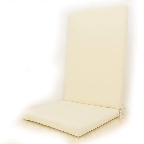 Edenjardi Cojín para sillones de jardín reclinables Color Beige, Tamaño 114x48x5 cm, Repelente al Agua, Desenfundable