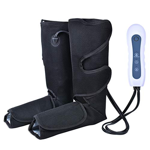 Air Compression Leg Massager for Foot Calf and Arm Massage with Portable Handheld Controller Improve Blood Circulation - 2 Modes & 3 Intensities Portable (Black)