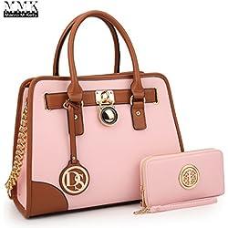 MMK collection Fashion Packlock Handbag for Women` Signature fashion Designer Purse with spring colors~Perfect Women Satchel Purse ~ Beautiful Designer handbag &purse (XL-02-6892-Pink/Pink)