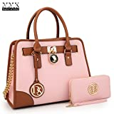 MMK Collection Medium Size Vegan Leather Two-Tone Women Satchel with Chain Shoulder Strap and FREE Matching Wallet~Popular Gift for Lady~Amazing Travel Handbag(6892W) (XL-MA-02-6892-W-PK)