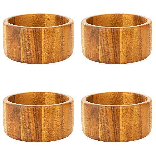 Villa Acacia Small Wood Salad Bowl, Modern Design - 6 x 3 Inches - (4-Pack)