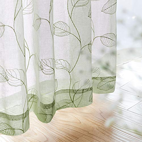 Green Window Curtain - Embroidered Sheer Curtains for Living Room Rod Pocket Leaf Window Curtains Botanical Geometric Semi-Sheer Curtains for Bedroom 1 Pair 84