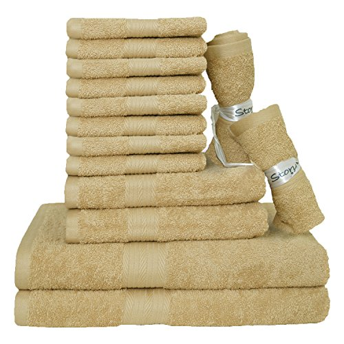 Story@Home Egyptian Ringspun Cotton Towels-14 Pcs Towel Set - 2 X Bath Towels | 2 X Hand Towels | 10 X Wash Cloths-BEIGE