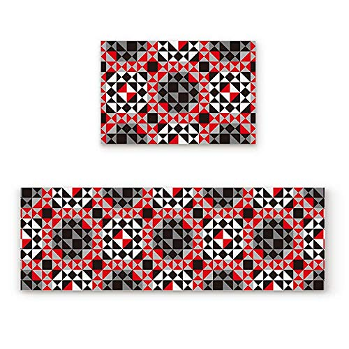 YGUII Abstract Geometric Triangles and Mosaic Black Red and Grey Pattern 2 Piece Doormat Hallway Kitchen Runner Rug Carpet Non-Slip Rubber Backing Area Rug Set Floor Mat