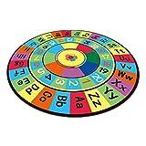 Wustrious Bedroom Alphanumeric Color Carpet Anti-Skid Educational Circle Activity Rug for Children