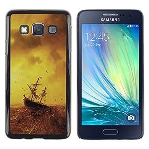 TECHCASE**Cubierta de la caja de protección la piel dura para el ** Samsung Galaxy A3 SM-A300 ** Stormy Sea Painting Ship Sailing Ocean Birds