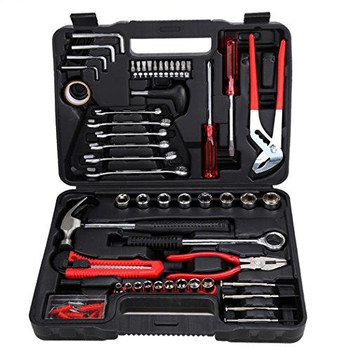 Teamyy Werkzeug Set 141 tlg Werkzeug im Koffer Heimwerker Werkzeugkasten Schraubendreher Hülse DIY Sätze Zangen