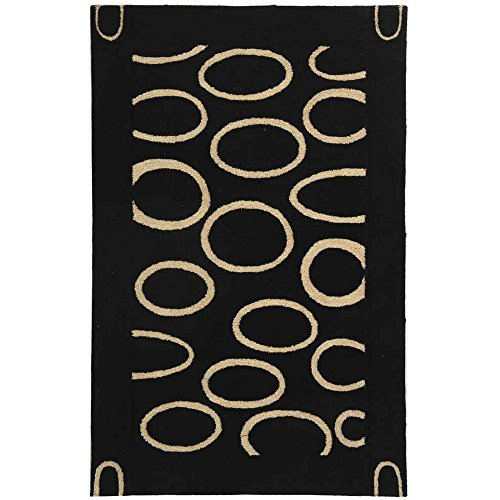 Safavieh Soho Collection SOH714A Handmade Black and Ivory Premium Wool Area Rug 5 x 8