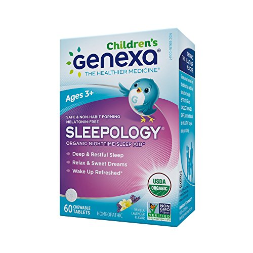 Genexa Sleepology for Children: Certified Organic Sleep Aid, Melatonin-Free, Physician Formulated, Safe, Natural, Non-GMO Verified, Certified Vegan, Homeopathic Sleep Supplement (60 Chewable Tablets)