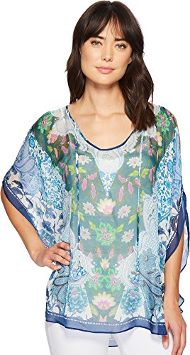 Hale Bob Women's Simply Irresistible Washed Silk Chiffon Tunic Top Blue X-Small