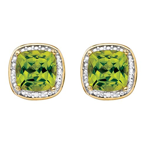 Genuine Yellow Peridot and Diamond Accent 14k Gold-Plated .925 Silver Halo Stud Earrings