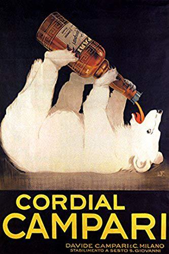 CORDIAL CAMPARI BIG WHITE BEAR DRINKING ALCOHOLIC LIQUEUR ITALY VINTAGE POSTER REPRO ()