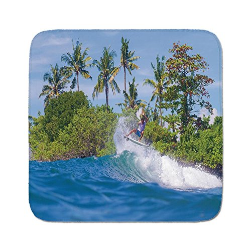 Bali Cushion Cover - Cozy Seat Protector Pads Cushion Area Rug,Ride The Wave,Surfer in Ocean by Bali Island Palm Trees Dreamy Nature Scenery,Fern Green Violet Blue,Easy to Use on Any Surface