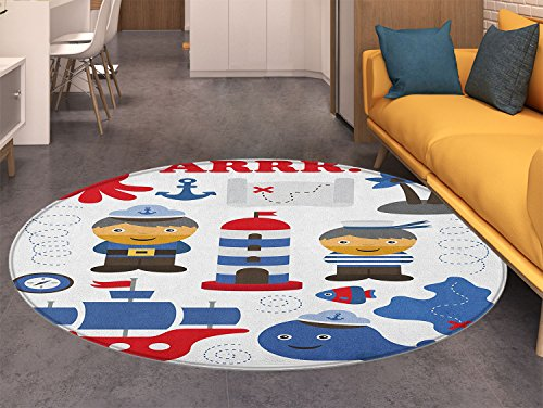 Ahoy Its a Boy Round Area Rug Sea Theme Objects Collection Fishes Ship Lighthouse Sailors Octopus Living Dinning Room & Bedroom Rugs Blue Red White -