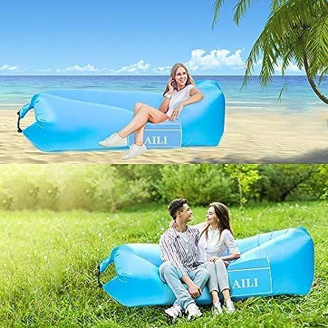AILI Tumbona inflable impermeable con reposacabezas, sofá portátil ...