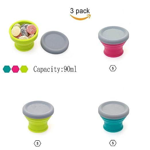 Paquete De 3 Vasos De Silicona Plegable Con Tapa 90ML Para Acampar ...