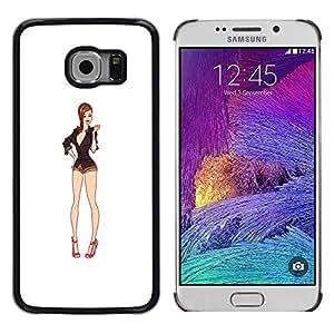 Be Good Phone Accessory // Dura Cáscara cubierta Protectora Caso Carcasa Funda de Protección para Samsung Galaxy S6 EDGE SM-G925 // sexy legs white babe cleavage pin up