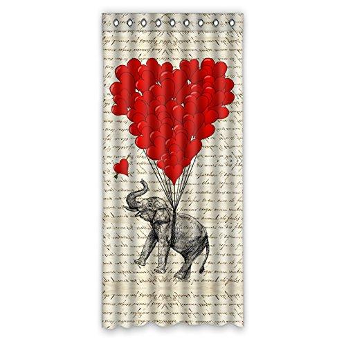 JIDUIDODO Original& Personal Tailor Gifts Custom True Love Halloween November Elephant Window Curtain For Living Room, Bedroom, And Kids Rooms Polyester Roman Shades 50