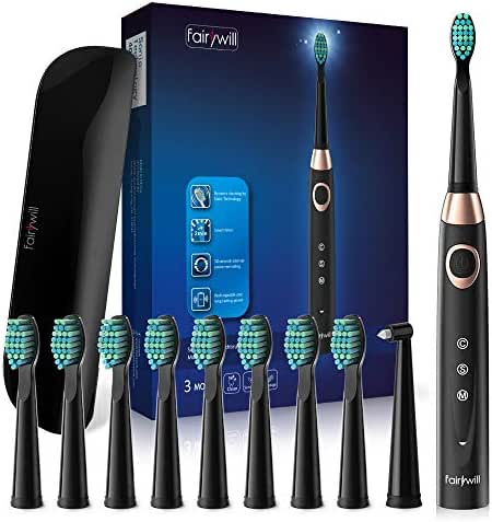 Fairywill Travel Electric Toothbrush for Adults and Teens, 10 DuPont Brush Heads, USB Rechargeable Teeth Whitening Portable Toothbrush, Travel Case Included, Cordless Sonic Toothbrush, FW508 Black