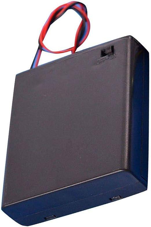Babysbreath17 Negro 4 Pilas AA Interruptor de la Tapa la Caja del sostenedor de batería de 6V Caja Soporte de la batería del Estante del Compartimiento: Amazon.es: Hogar