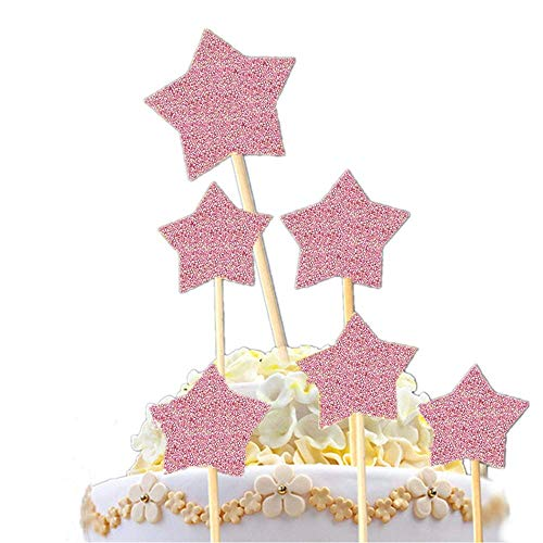 12 Pack Rose Gold Happy Birthday Cake Topper Set, 1 Acrylic Cake Topper, 1 Confetti Balloon, 4 Glitter Paper Fans, 6 Glitter Stars, Calligraphy Bling Cake Decoration Sign Party Banner