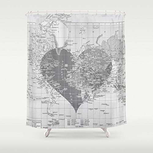Amazon Com Love Each Other World Map Shower Curtain With Heart