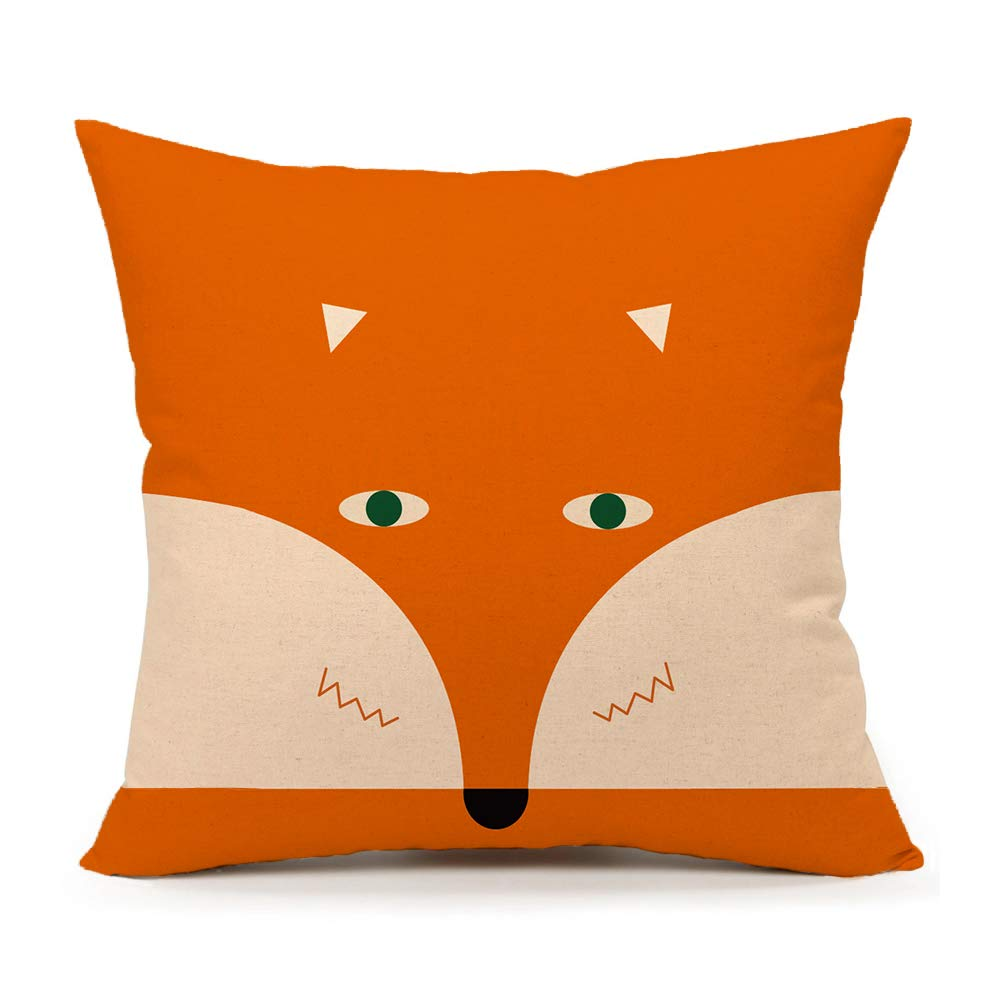 4TH Emotion Orange Abstract Cute Fox Design Home Decor Design Throw Pillow Cover Pillow Case 18 x 18 Inch Cotton Linen for Sofa